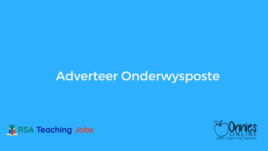 Adverteer onderwysposte deur Onnies Online op RSA Teaching Jobs